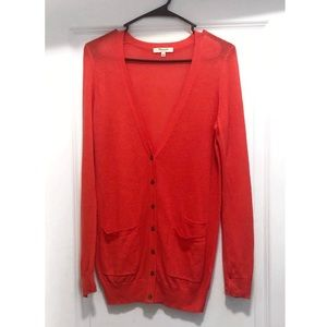 Madewell slouchy button down red cardigan small